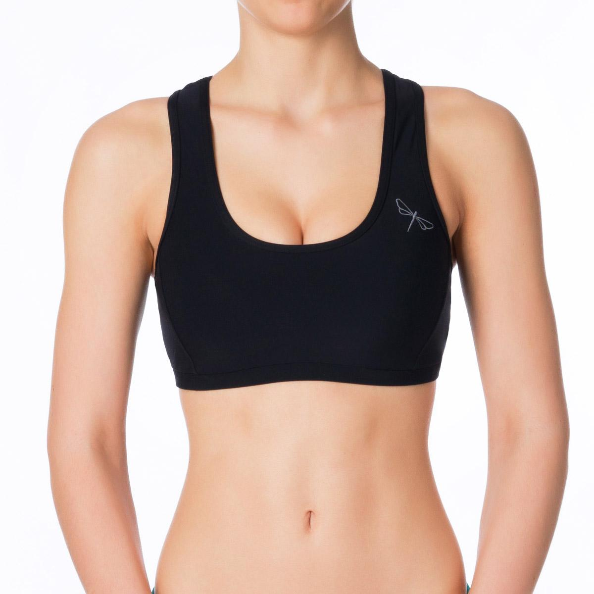 Sporty, black sports bra